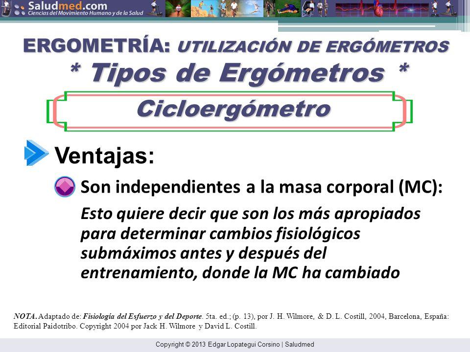 Copyright © 2013 Edgar Lopategui Corsino | Saludmed ERGOMETRÍA: UTILIZACIÓN DE ERGÓMETROS * Tipos de Ergómetros * Cicloergómetro Cicloergómetro NOTA.