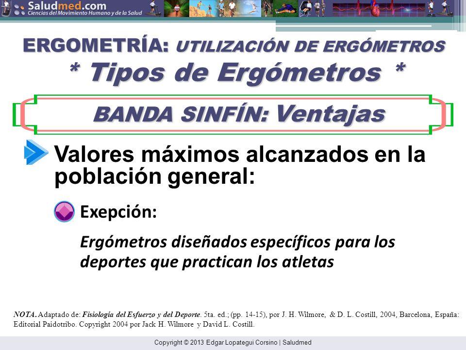 Copyright © 2013 Edgar Lopategui Corsino | Saludmed ERGOMETRÍA: UTILIZACIÓN DE ERGÓMETROS * Tipos de Ergómetros * BANDA SINFÍN: Ventajas BANDA SINFÍN: Ventajas NOTA.
