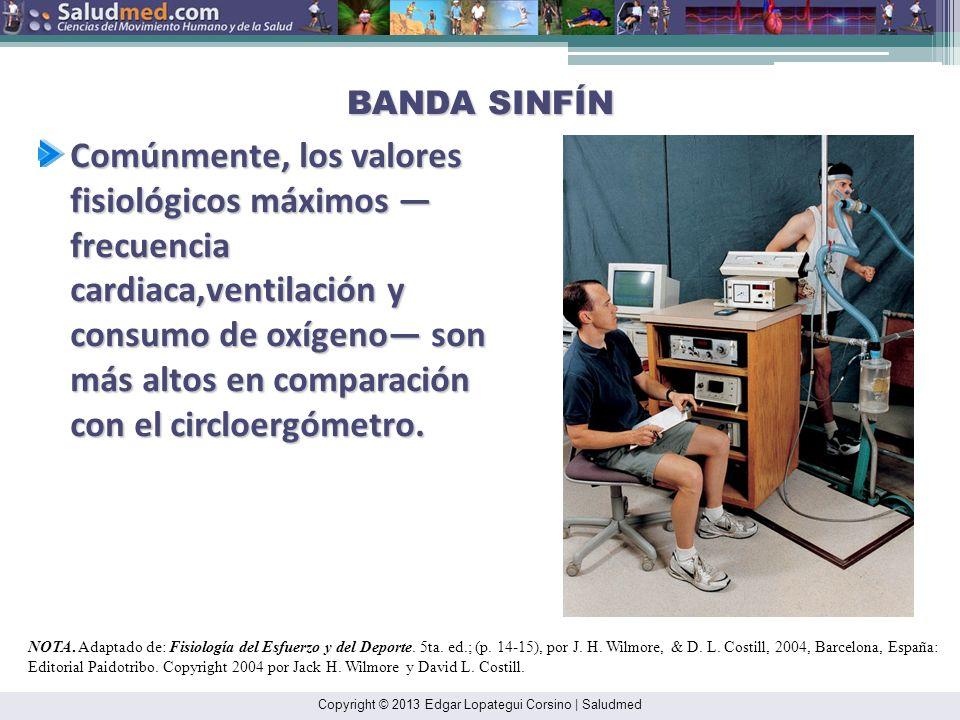 Copyright © 2013 Edgar Lopategui Corsino | Saludmed BANDA SINFÍN Comúnmente, los valores fisiológicos máximos frecuencia cardiaca,ventilación y consumo de oxígeno son más altos en comparación con el circloergómetro.