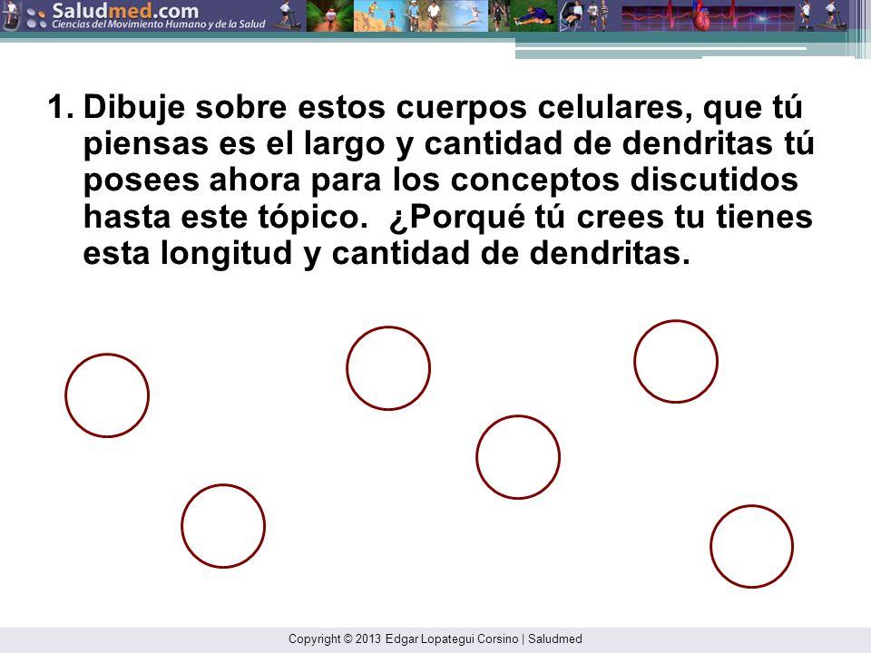 Copyright © 2013 Edgar Lopategui Corsino | Saludmed 1.Dibuje sobre estos cuerpos celulares, que tú piensas es el largo y cantidad de dendritas tú posees ahora para los conceptos discutidos hasta este tópico.