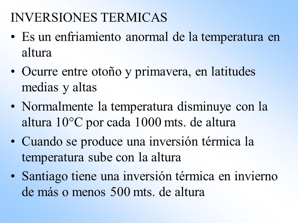 INVERSIONES TERMICAS Es un enfriamiento anormal de la temperatura en altura Ocurre entre otoño y primavera, en latitudes medias y altas Normalmente la