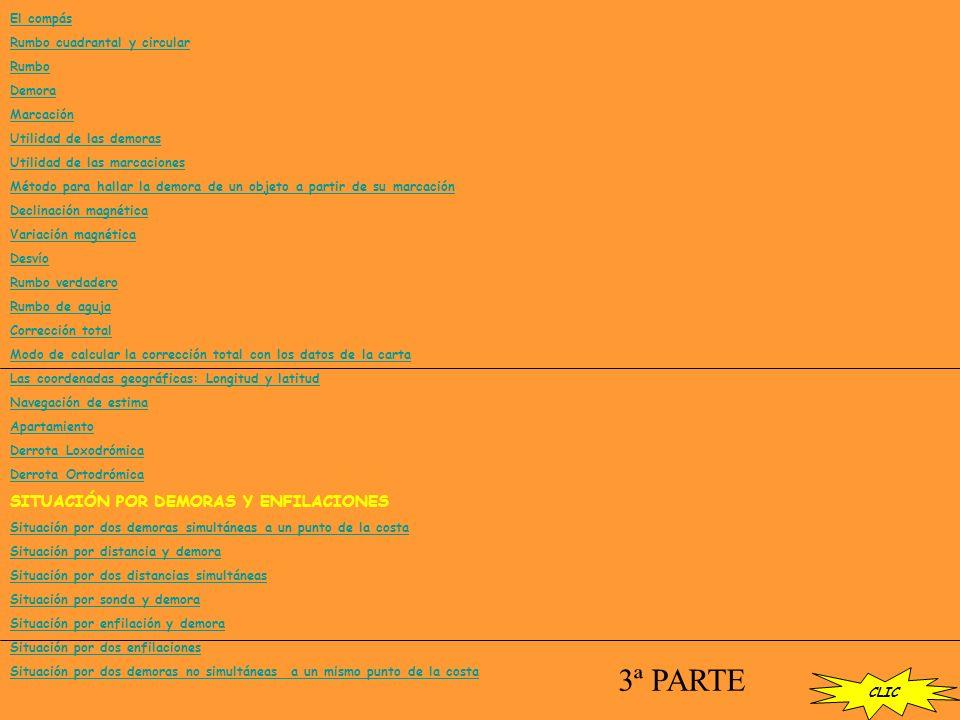 El compás Rumbo cuadrantal y circular Rumbo Demora Marcación Utilidad de las demoras Utilidad de las marcaciones Método para hallar la demora de un objeto a partir de su marcación Declinación magnética Variación magnética Desvío Rumbo verdadero Rumbo de aguja Corrección total Modo de calcular la corrección total con los datos de la carta Las coordenadas geográficas: Longitud y latitud Navegación de estima Apartamiento Derrota Loxodrómica Derrota Ortodrómica SITUACIÓN POR DEMORAS Y ENFILACIONES Situación por dos demoras simultáneas a un punto de la costa Situación por distancia y demora Situación por dos distancias simultáneas Situación por sonda y demora Situación por enfilación y demora Situación por dos enfilaciones Situación por dos demoras no simultáneas a un mismo punto de la costa 3ª PARTE CLIC