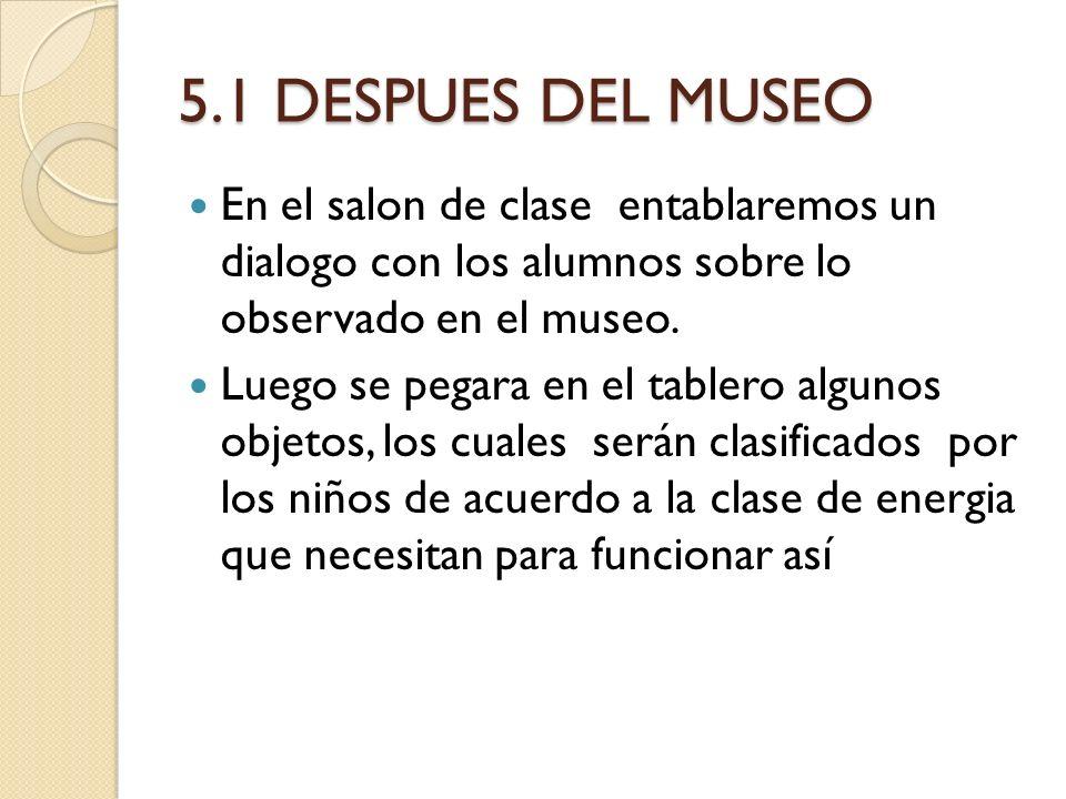 5.1 DESPUES DEL MUSEO En el salon de clase entablaremos un dialogo con los alumnos sobre lo observado en el museo. Luego se pegara en el tablero algun