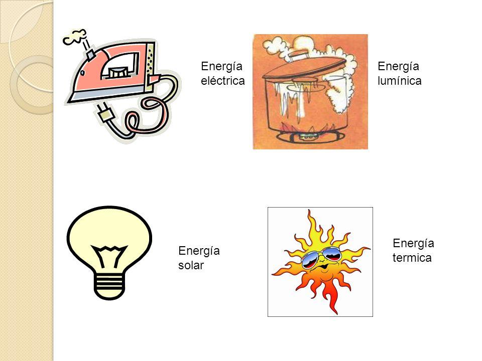 Energía eléctrica Energía lumínica Energía solar Energía termica