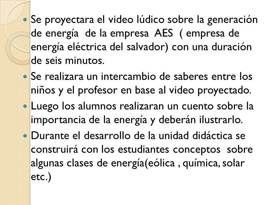 Se proyectara el video lúdico sobre la generación de energía de la empresa AES ( empresa de energía eléctrica del salvador) con una duración de seis m