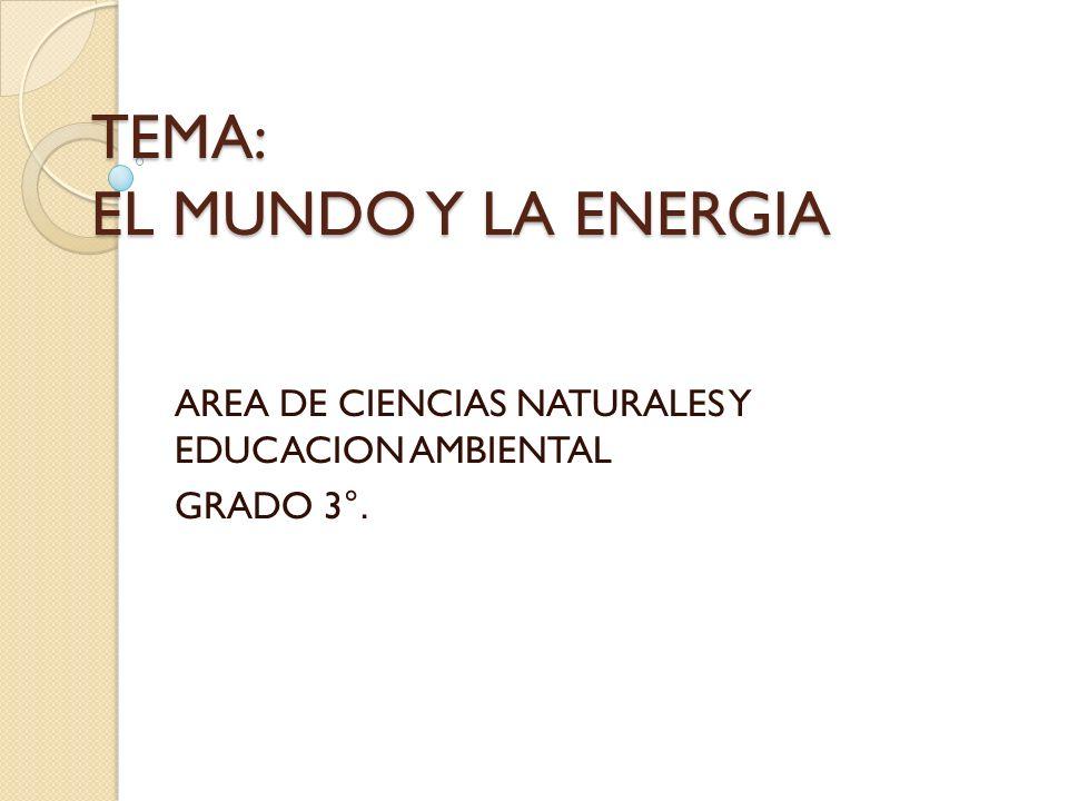 TEMA: EL MUNDO Y LA ENERGIA AREA DE CIENCIAS NATURALES Y EDUCACION AMBIENTAL GRADO 3 °.