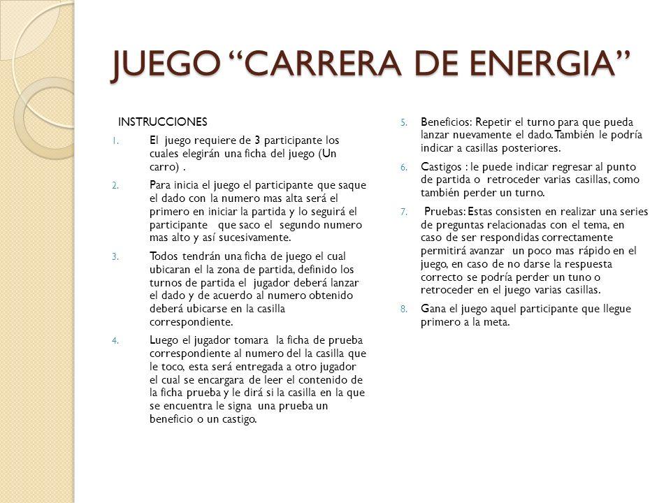 JUEGO CARRERA DE ENERGIA INSTRUCCIONES 1. El juego requiere de 3 participante los cuales elegirán una ficha del juego (Un carro). 2. Para inicia el ju
