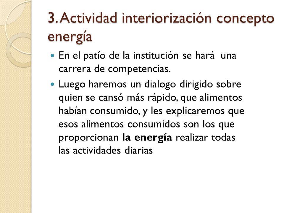 3. Actividad interiorización concepto energía En el patío de la institución se hará una carrera de competencias. Luego haremos un dialogo dirigido sob