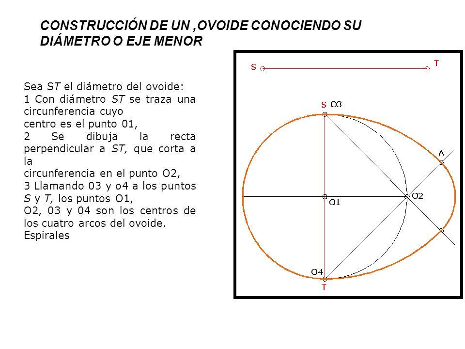 CONSTRUCCIÓN DE UN,OVOIDE CONOCIENDO SU DIÁMETRO O EJE MENOR Sea ST el diámetro del ovoide: 1 Con diámetro ST se traza una circunferencia cuyo centro es el punto 01, 2 Se dibuja la recta perpendicular a ST, que corta a la circunferencia en el punto O2, 3 Llamando 03 y o4 a los puntos S y T, los puntos O1, O2, 03 y 04 son los centros de los cuatro arcos del ovoide.