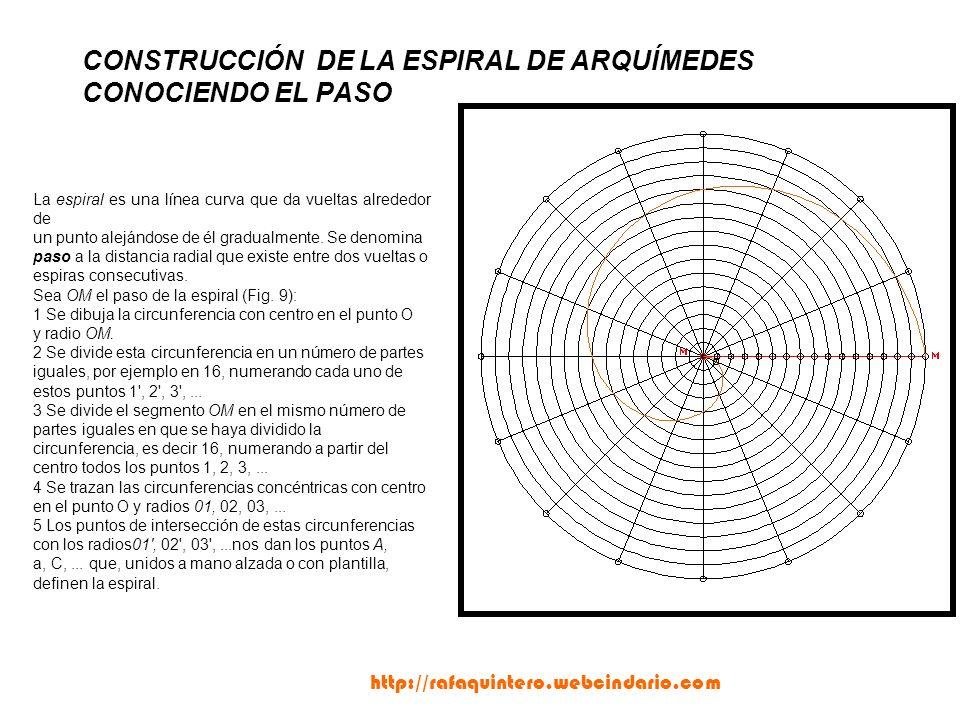 CONSTRUCCIÓN DE LA ESPIRAL DE ARQUÍMEDES CONOCIENDO EL PASO La espiral es una línea curva que da vueltas alrededor de un punto alejándose de él gradualmente.