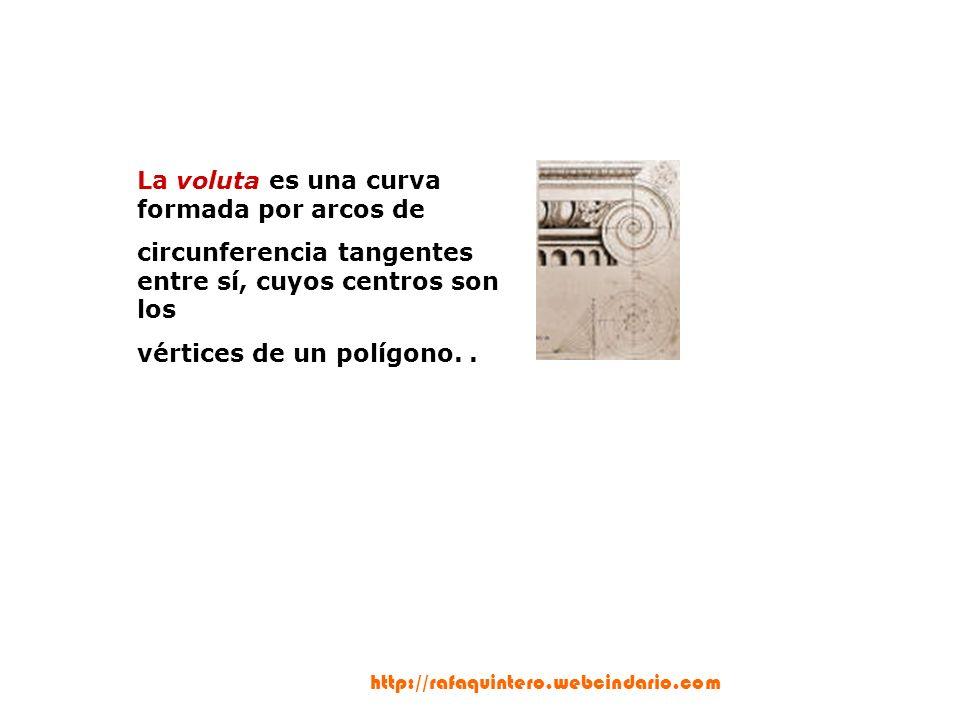 La voluta es una curva formada por arcos de circunferencia tangentes entre sí, cuyos centros son los vértices de un polígono..