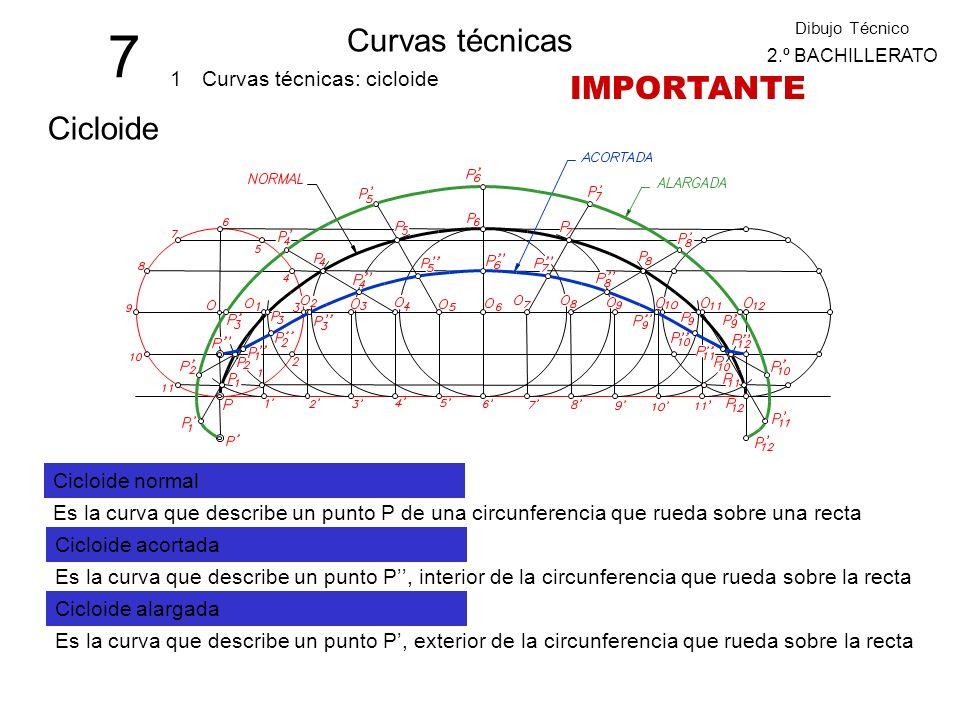 7 Curvas técnicas 1 Dibujo Técnico 2.º BACHILLERATO Curvas técnicas: cicloide Cicloide Cicloide normal Es la curva que describe un punto P de una circunferencia que rueda sobre una recta Cicloide acortada Es la curva que describe un punto P, interior de la circunferencia que rueda sobre la recta Cicloide alargada Es la curva que describe un punto P, exterior de la circunferencia que rueda sobre la recta IMPORTANTE