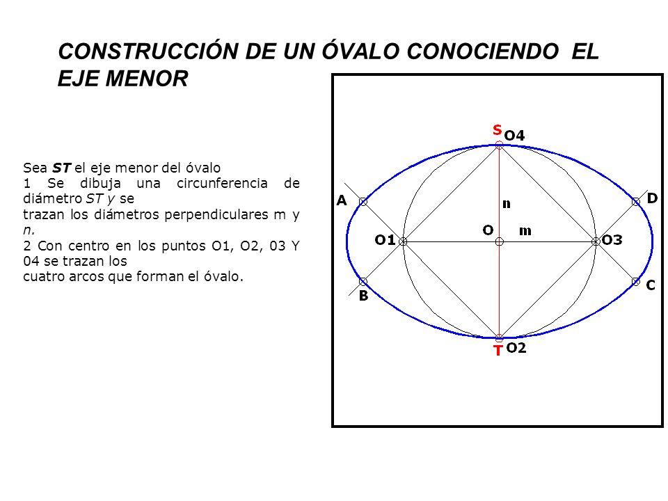 CONSTRUCCIÓN DE UN ÓVALO DE CUATRO CENTROS CONOCIENDO LOS DOS EJES PERPENDICULARES Sean MN y ST los ejes: 1 Se dibujan MN y ST cortándose en su punto medio O.