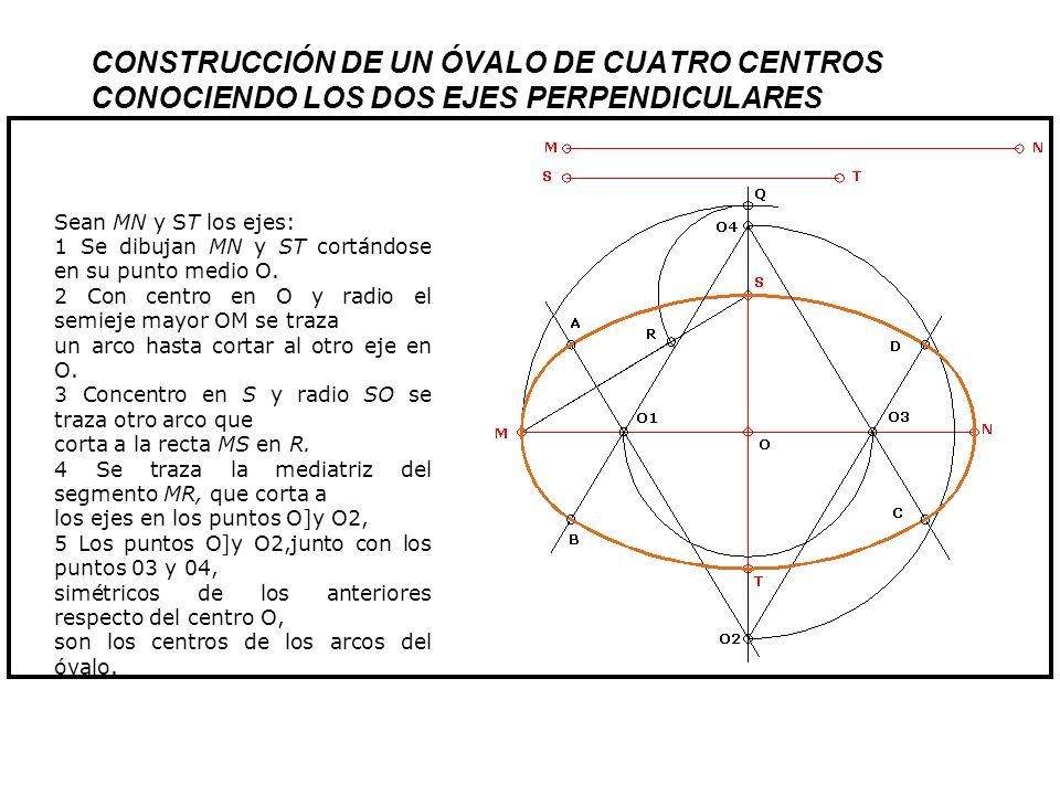 CONSTRUCCI Ó N DE UN Ó VALO INSCRITO EN UN ROMBO DADO Sea el rombo ADBC: 1 Por el punto C se trazan las rectas perpendiculares a los lados AD y De.