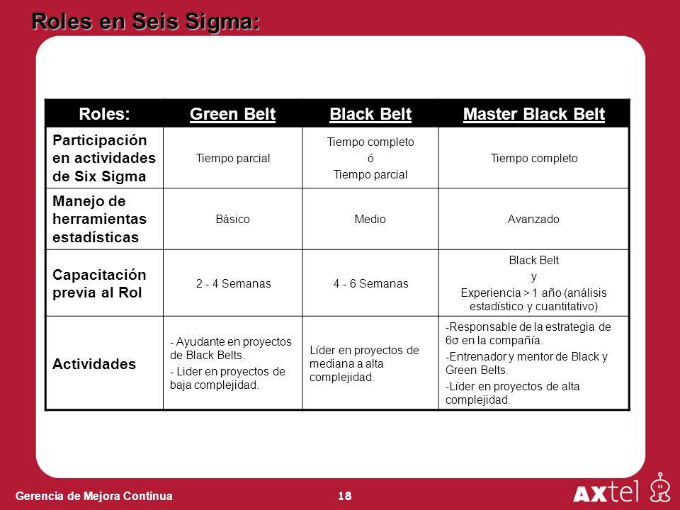 18 Gerencia de Mejora Continua Roles:Green BeltBlack BeltMaster Black Belt Participación en actividades de Six Sigma Tiempo parcial Tiempo completo ó