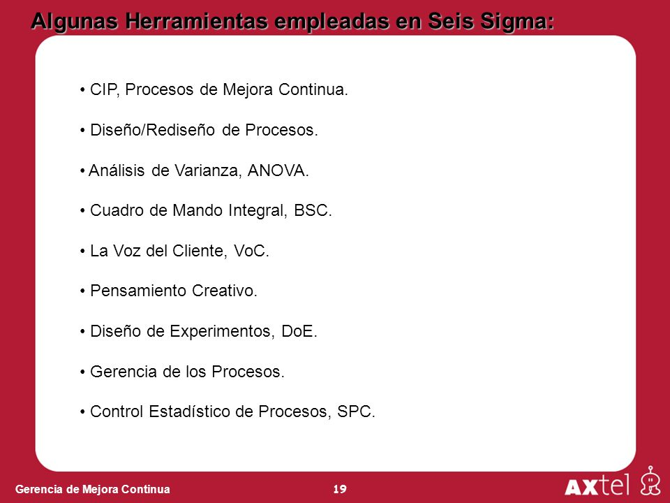 19 Gerencia de Mejora Continua Algunas Herramientas empleadas en Seis Sigma: CIP, Procesos de Mejora Continua. Diseño/Rediseño de Procesos. Análisis d