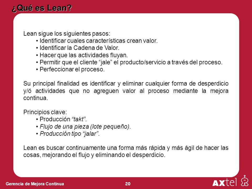 20 Gerencia de Mejora Continua Lean sigue los siguientes pasos: Identificar cuales características crean valor. Identificar la Cadena de Valor. Hacer