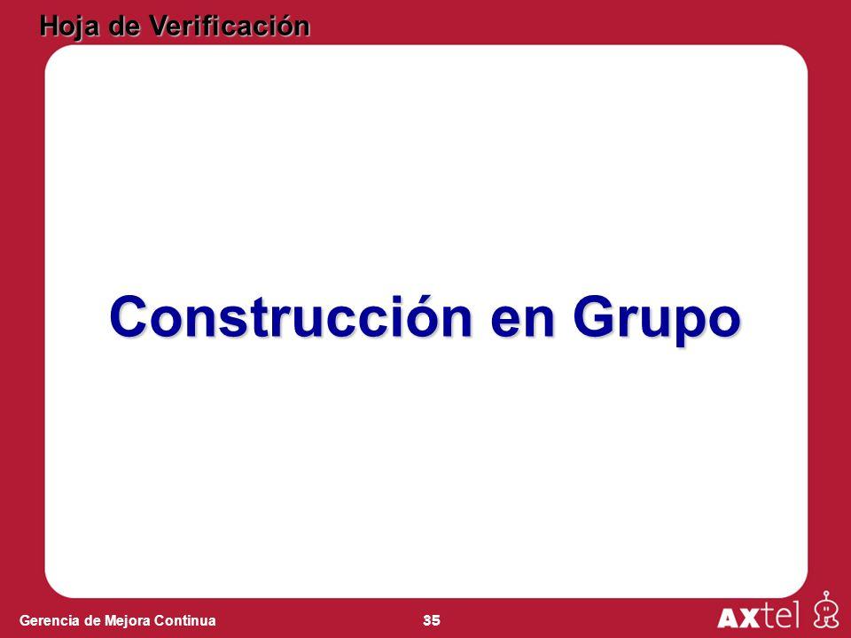 35 Gerencia de Mejora Continua Hoja de Verificación Construcción en Grupo