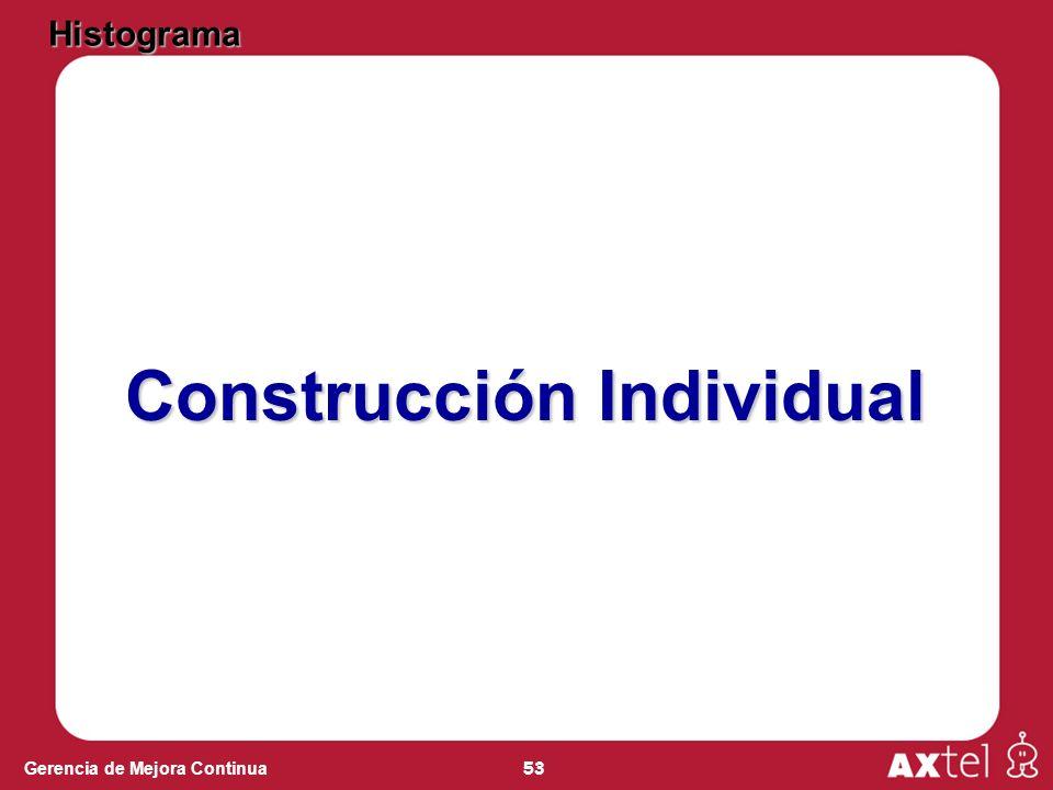53 Gerencia de Mejora Continua Construcción Individual Histograma
