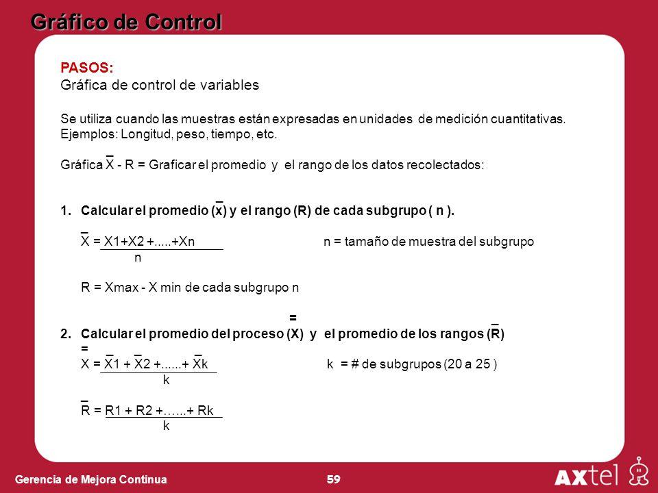 59 Gerencia de Mejora Continua PASOS: Gráfica de control de variables Se utiliza cuando las muestras están expresadas en unidades de medición cuantitativas.