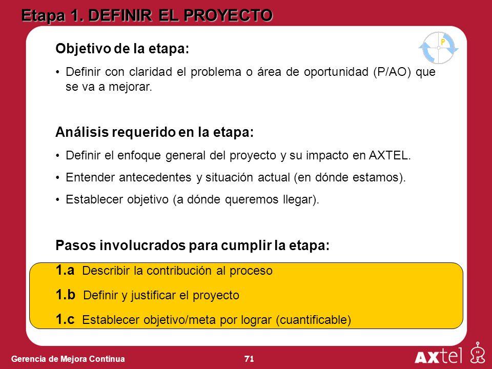 71 Gerencia de Mejora Continua Objetivo de la etapa: Definir con claridad el problema o área de oportunidad (P/AO) que se va a mejorar. Análisis reque