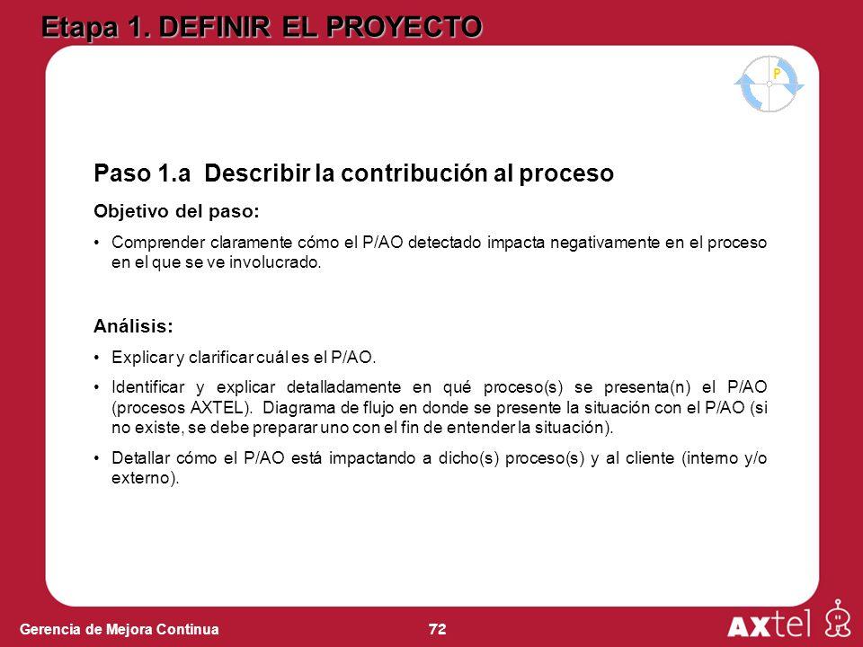 72 Gerencia de Mejora Continua Paso 1.a Describir la contribución al proceso Objetivo del paso: Comprender claramente cómo el P/AO detectado impacta negativamente en el proceso en el que se ve involucrado.