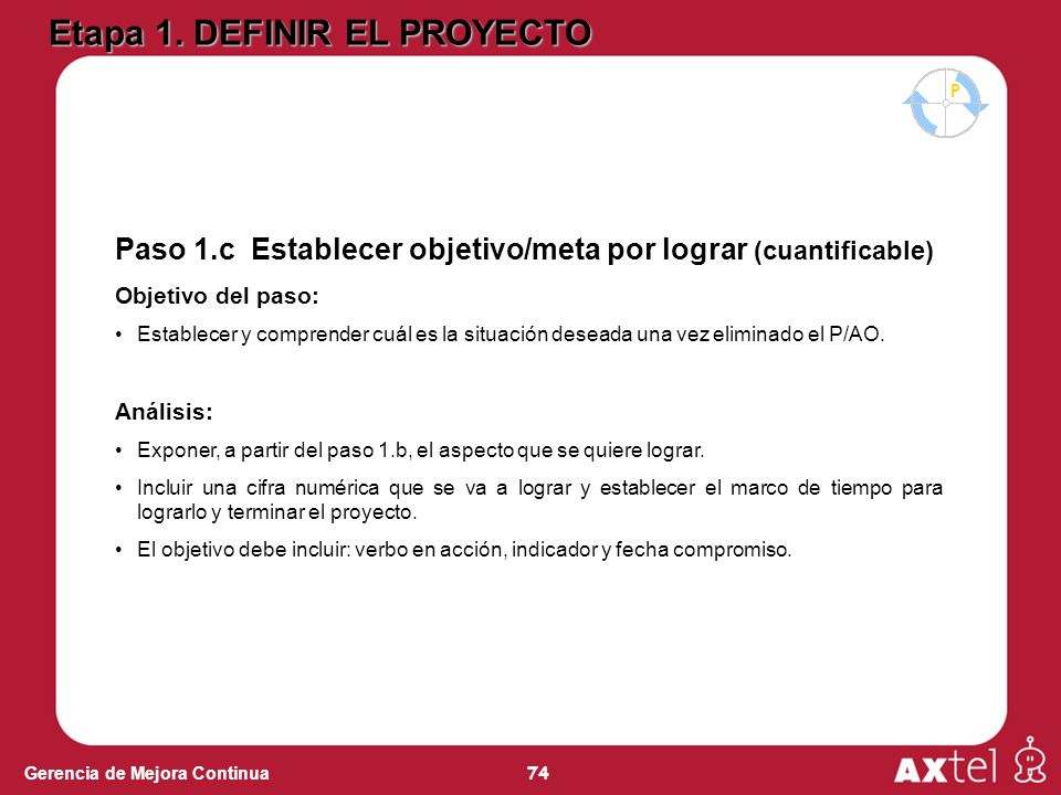 74 Gerencia de Mejora Continua Paso 1.c Establecer objetivo/meta por lograr (cuantificable) Objetivo del paso: Establecer y comprender cuál es la situación deseada una vez eliminado el P/AO.
