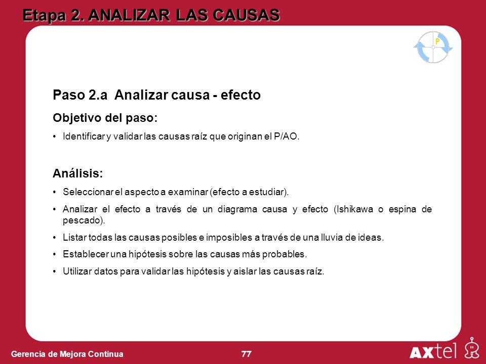 77 Gerencia de Mejora Continua Paso 2.a Analizar causa - efecto Objetivo del paso: Identificar y validar las causas raíz que originan el P/AO.
