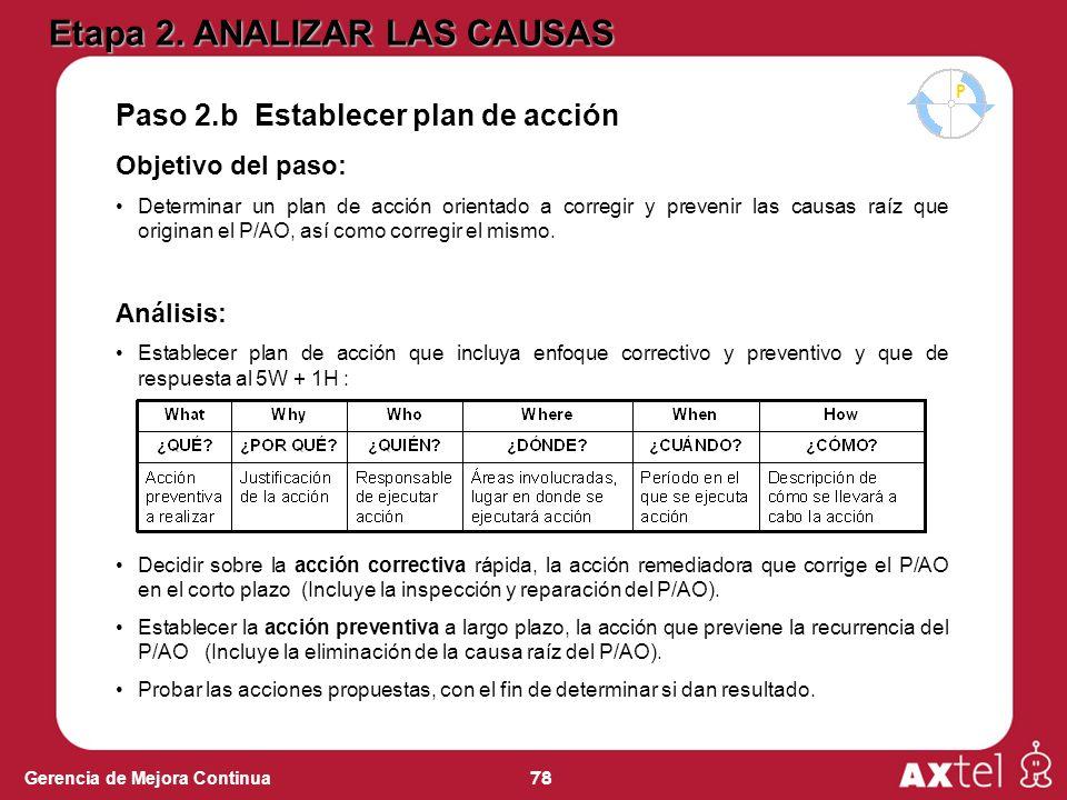 78 Gerencia de Mejora Continua Paso 2.b Establecer plan de acción Objetivo del paso: Determinar un plan de acción orientado a corregir y prevenir las causas raíz que originan el P/AO, así como corregir el mismo.