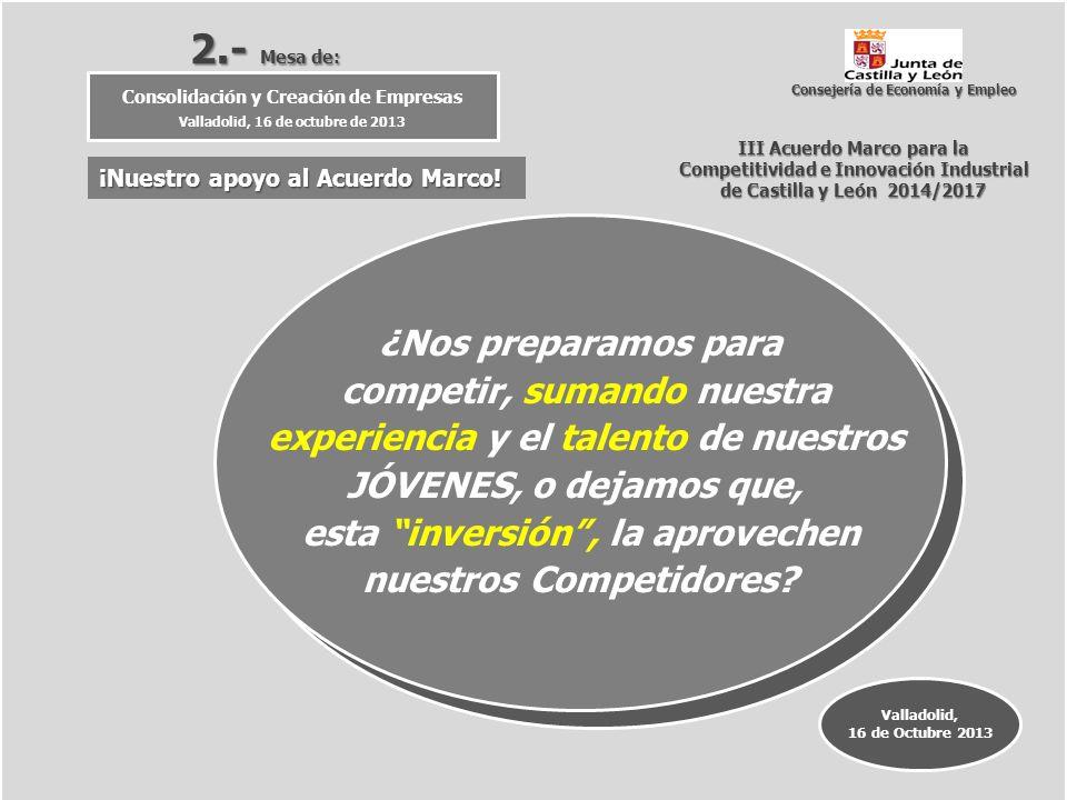 III Acuerdo Marco para la Competitividad e Innovación Industrial Competitividad e Innovación Industrial de Castilla y León 2014/2017 2.- Mesa de: Cons