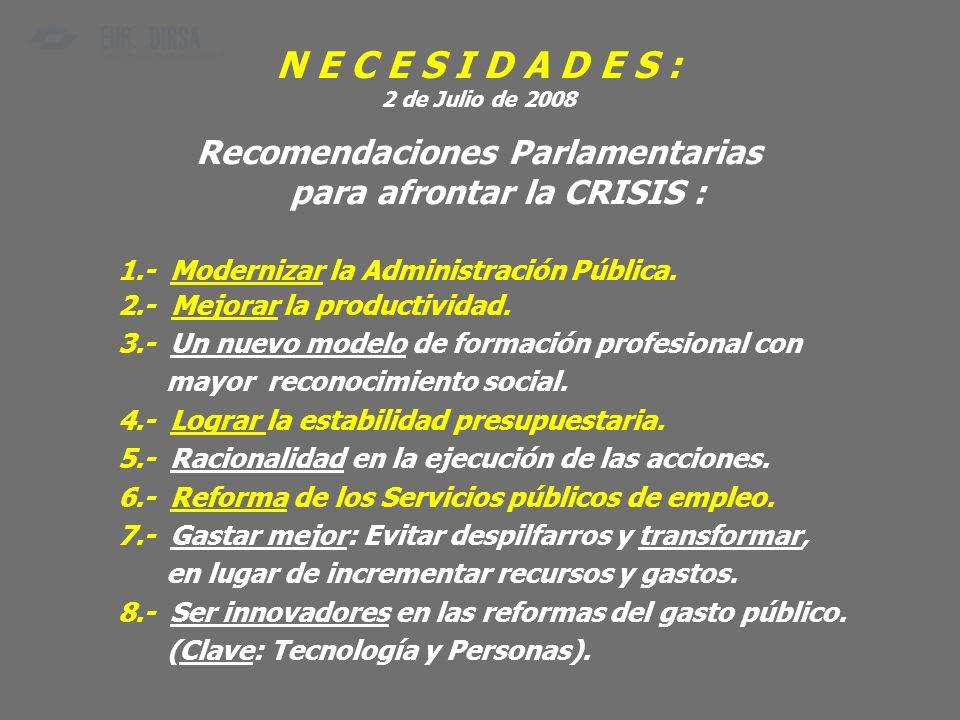 N E C E S I D A D E S : 2 de Julio de 2008 Recomendaciones Parlamentarias para afrontar la CRISIS : 1.- Modernizar la Administración Pública. 2.- Mejo