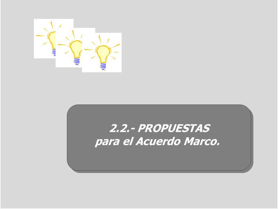 2.2.- PROPUESTAS para el Acuerdo Marco. 2.2.- PROPUESTAS para el Acuerdo Marco.