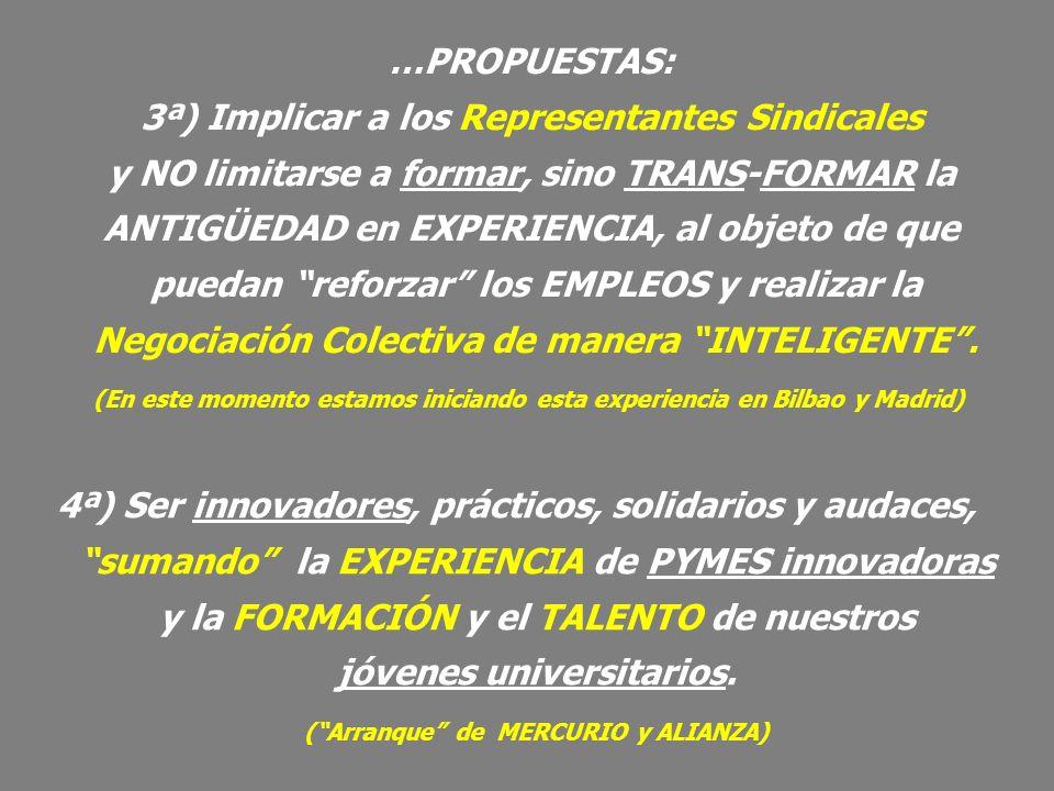 4ª) Ser innovadores, prácticos, solidarios y audaces, sumando la EXPERIENCIA de PYMES innovadoras y la FORMACIÓN y el TALENTO de nuestros jóvenes univ