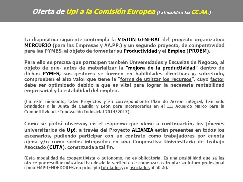 La diapositiva siguiente contempla la VISION GENERAL del proyecto organizativo MERCURIO (para las Empresas y AA.PP.) y un segundo proyecto, de competitividad para las PYMES, al objeto de fomentar su Productividad y el Empleo (PROEM).