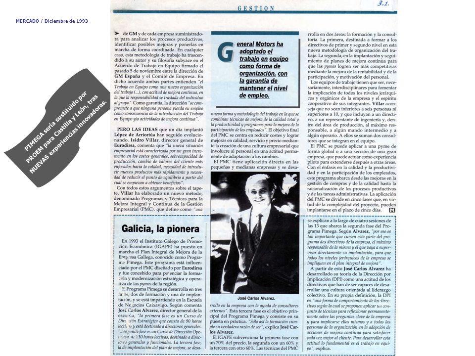 PIMEGA sería sustituido por PROEM para Castilla y León, tras NUEVAS experiencias innovadoras. MERCADO / Diciembre de 1993