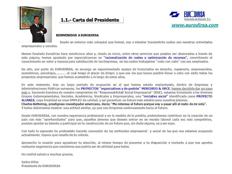 1.1.- Carta del Presidente BIENVENIDOS A EURODIRSA BIENVENIDOS A EURODIRSA Desde un entorno más coloquial que formal, voy a intentar transmitirte cuáles son nuestras actividades empresariales y sociales.