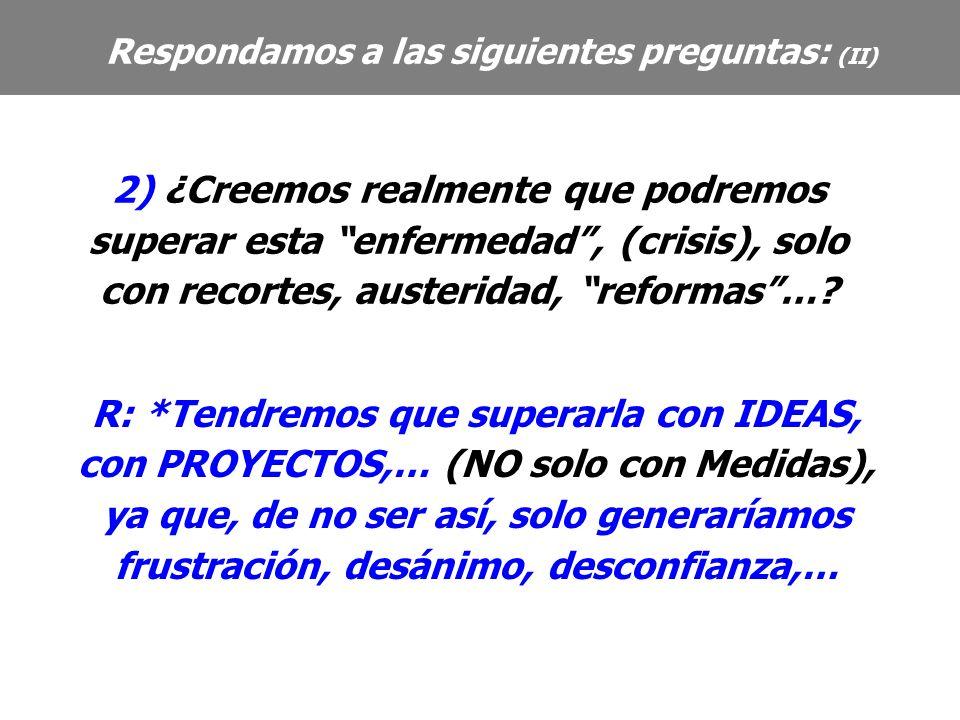 R: *Tendremos que superarla con IDEAS, con PROYECTOS,… (NO solo con Medidas), ya que, de no ser así, solo generaríamos frustración, desánimo, desconfianza,… Respondamos a las siguientes preguntas: (II) 2) ¿Creemos realmente que podremos superar esta enfermedad, (crisis), solo con recortes, austeridad, reformas…?