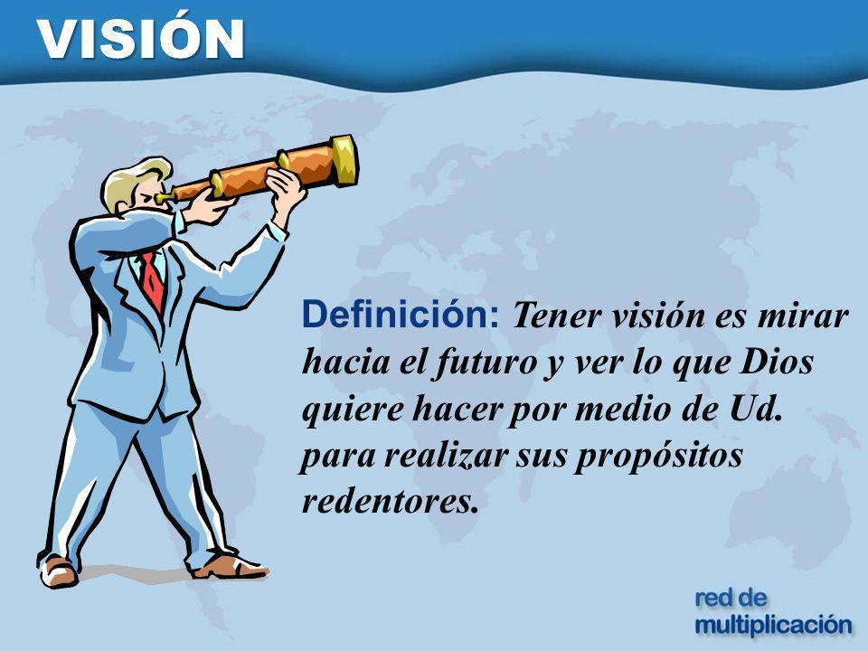 VISIÓN Definición: Tener visión es mirar hacia el futuro y ver lo que Dios quiere hacer por medio de Ud.