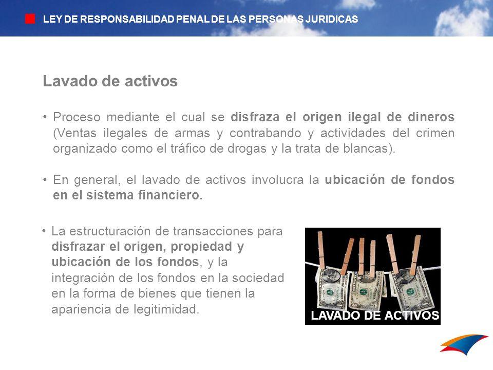 LAVADO DE ACTIVOS Lavado de activos Proceso mediante el cual se disfraza el origen ilegal de dineros (Ventas ilegales de armas y contrabando y activid
