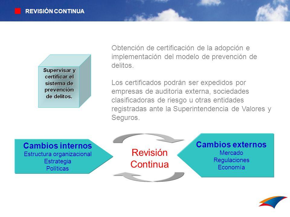 REVISIÓN CONTINUA Obtención de certificación de la adopción e implementación del modelo de prevención de delitos. Los certificados podrán ser expedido