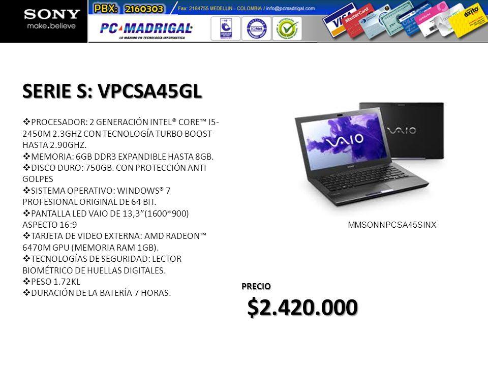 PROCESADOR: 2 GENERACIÓN INTEL® CORE I5- 2450M 2.3GHZ CON TECNOLOGÍA TURBO BOOST HASTA 2.90GHZ. MEMORIA: 6GB DDR3 EXPANDIBLE HASTA 8GB. DISCO DURO: 75