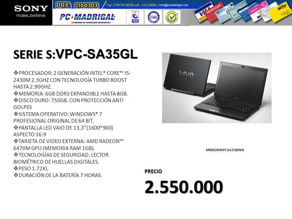 PROCESADOR: 2 GENERACIÓN INTEL® CORE I5- 2430M 2.3GHZ CON TECNOLOGÍA TURBO BOOST HASTA 2.90GHZ. MEMORIA: 6GB DDR3 EXPANDIBLE HASTA 8GB. DISCO DURO: 75