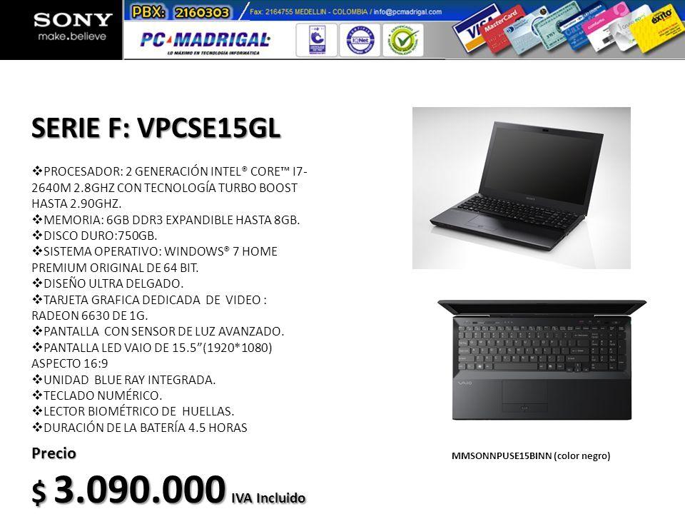 PROCESADOR: 2 GENERACIÓN INTEL® CORE I7- 2640M 2.8GHZ CON TECNOLOGÍA TURBO BOOST HASTA 2.90GHZ. MEMORIA: 6GB DDR3 EXPANDIBLE HASTA 8GB. DISCO DURO:750