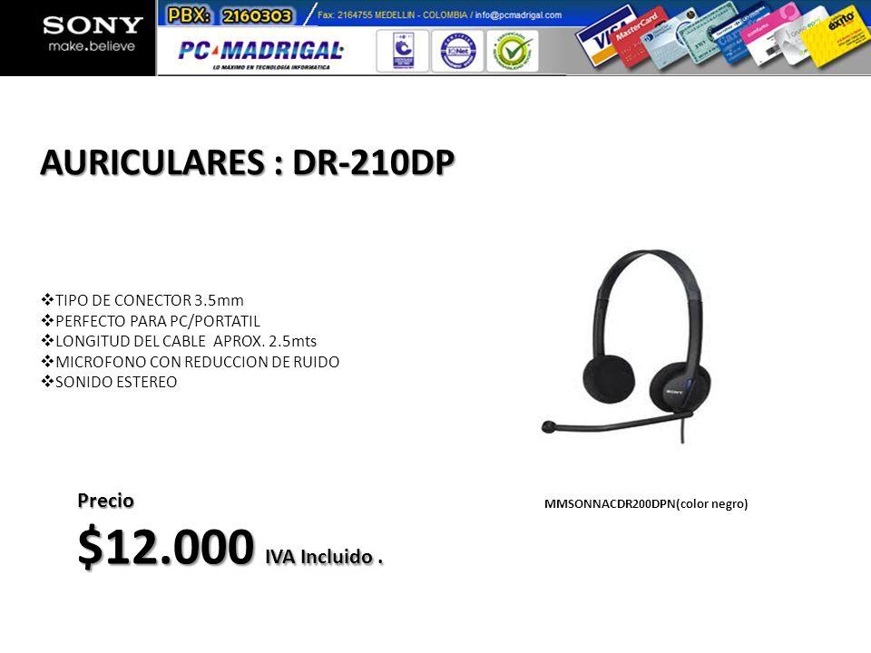 TIPO DE CONECTOR 3.5mm PERFECTO PARA PC/PORTATIL LONGITUD DEL CABLE APROX. 2.5mts MICROFONO CON REDUCCION DE RUIDO SONIDO ESTEREO AURICULARES : DR-210