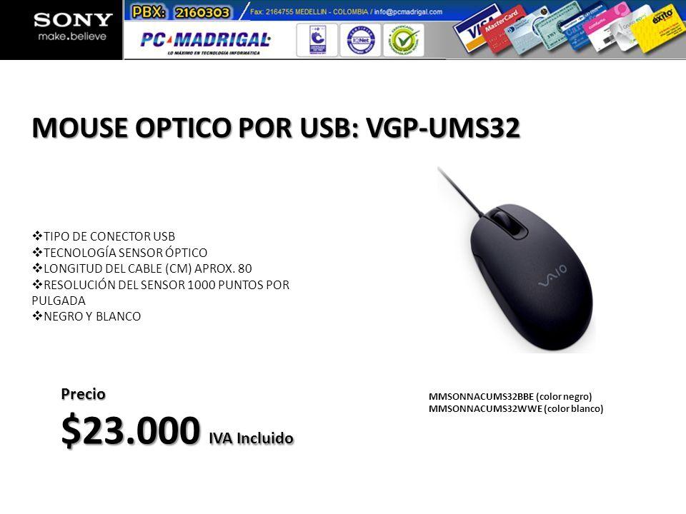 TIPO DE CONECTOR USB TECNOLOGÍA SENSOR ÓPTICO LONGITUD DEL CABLE (CM) APROX. 80 RESOLUCIÓN DEL SENSOR 1000 PUNTOS POR PULGADA NEGRO Y BLANCO MOUSE OPT