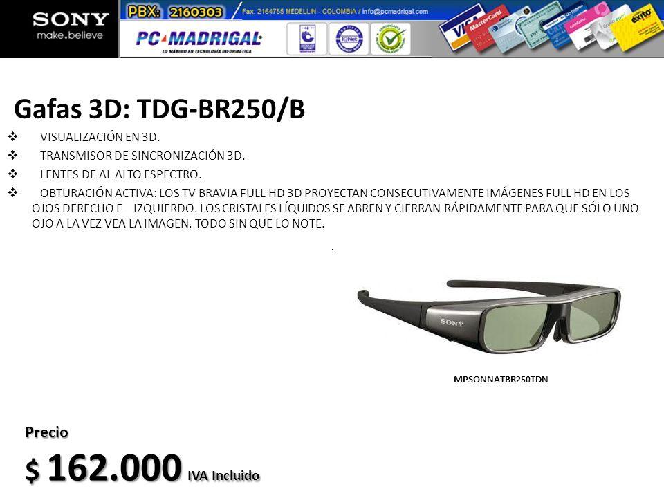 Gafas 3D: TDG-BR250/B VISUALIZACIÓN EN 3D. TRANSMISOR DE SINCRONIZACIÓN 3D. LENTES DE AL ALTO ESPECTRO. OBTURACIÓN ACTIVA: LOS TV BRAVIA FULL HD 3D PR
