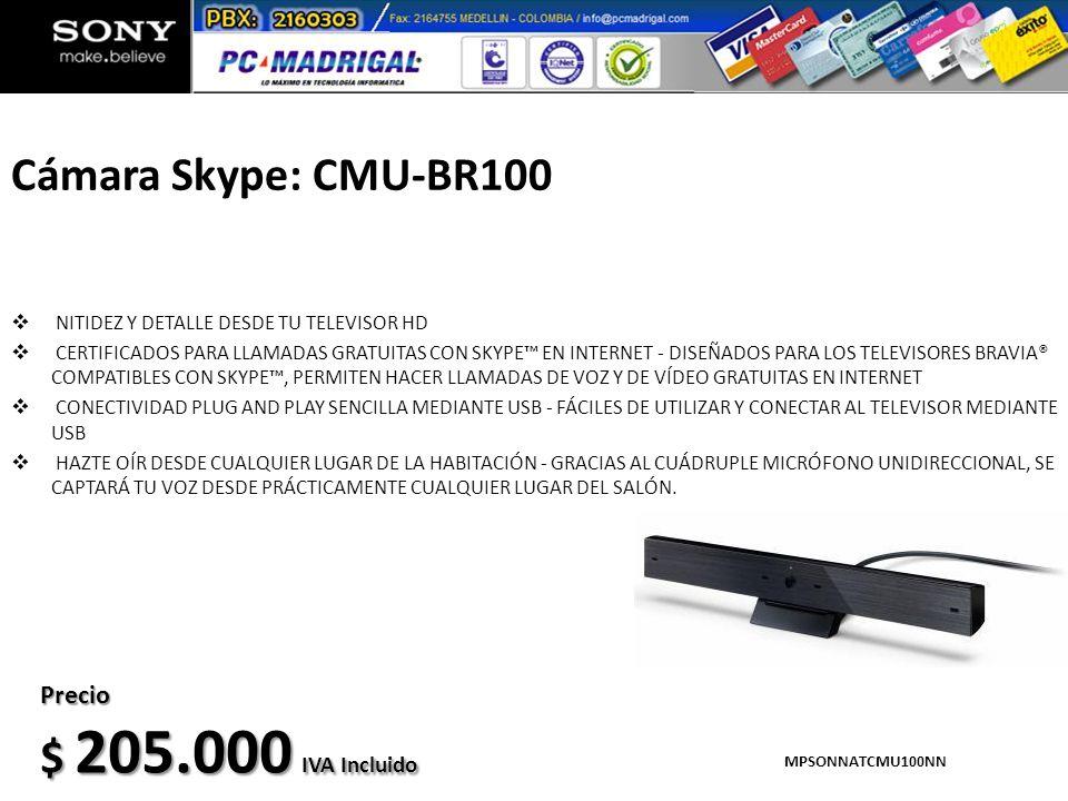 Cámara Skype: CMU-BR100 NITIDEZ Y DETALLE DESDE TU TELEVISOR HD CERTIFICADOS PARA LLAMADAS GRATUITAS CON SKYPE EN INTERNET - DISEÑADOS PARA LOS TELEVI