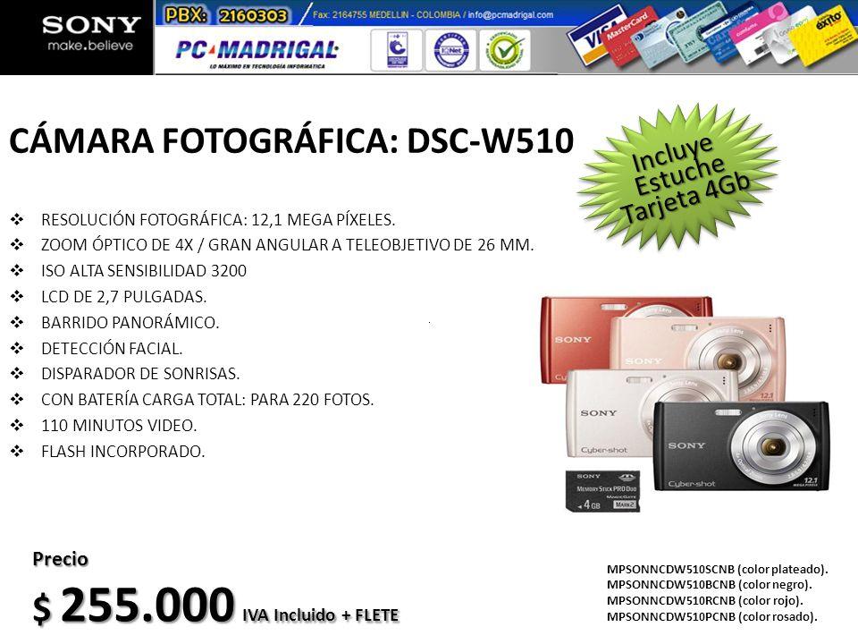 CÁMARA FOTOGRÁFICA: DSC-W510 RESOLUCIÓN FOTOGRÁFICA: 12,1 MEGA PÍXELES. ZOOM ÓPTICO DE 4X / GRAN ANGULAR A TELEOBJETIVO DE 26 MM. ISO ALTA SENSIBILIDA