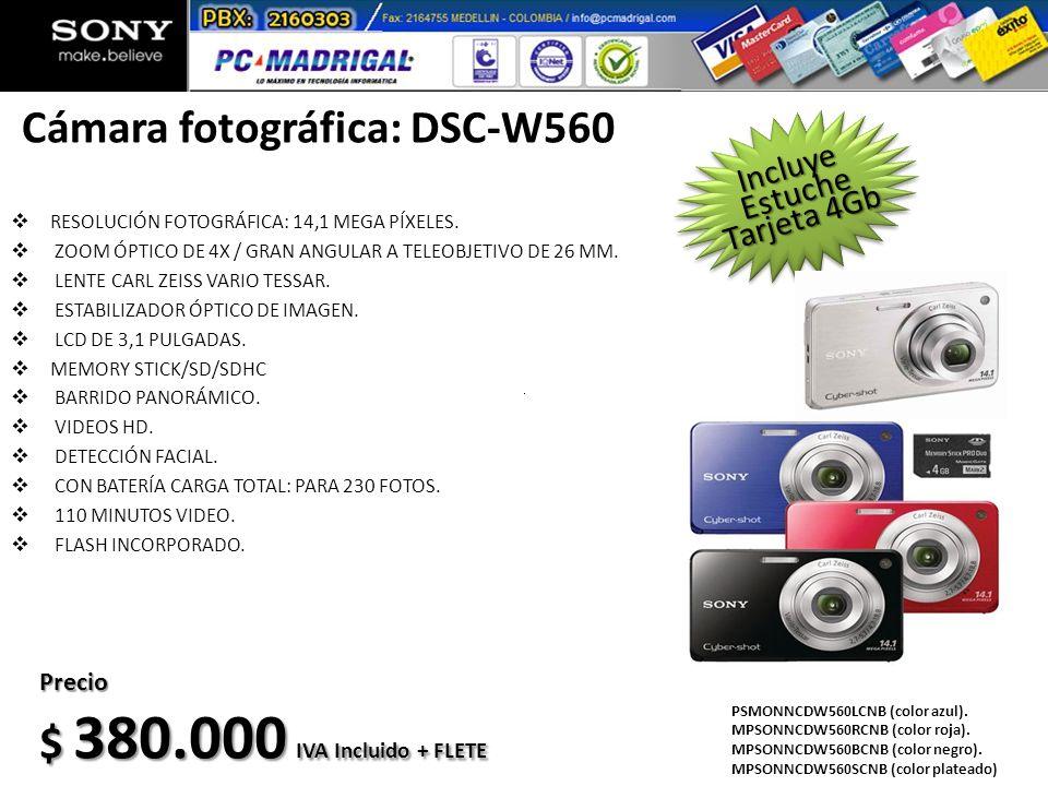 Cámara fotográfica: DSC-W560 RESOLUCIÓN FOTOGRÁFICA: 14,1 MEGA PÍXELES. ZOOM ÓPTICO DE 4X / GRAN ANGULAR A TELEOBJETIVO DE 26 MM. LENTE CARL ZEISS VAR