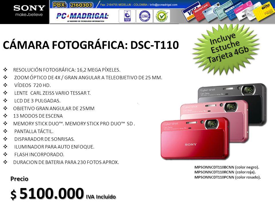 CÁMARA FOTOGRÁFICA: DSC-T110 RESOLUCIÓN FOTOGRÁFICA: 16,2 MEGA PÍXELES. ZOOM ÓPTICO DE 4X / GRAN ANGULAR A TELEOBJETIVO DE 25 MM. VÍDEOS 720 HD. LENTE
